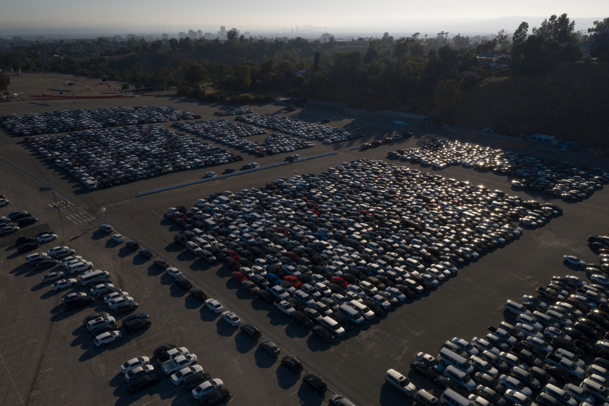 Rental Cars Stored At Dodger Stadium During Coronavirus Pandemic