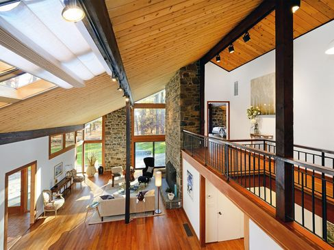 Interior of Angelina Jolie's childhood home in Snedens Landing, New York. Listed for $1.995 million.