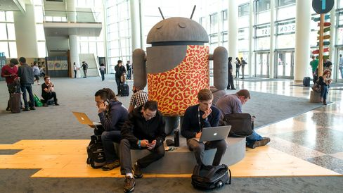 Attendees ahead of the Google I/O Annual Developers Conference in San Francisco on May 27, 2015.