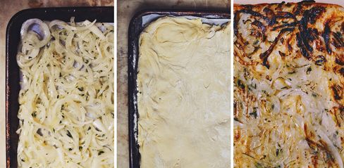 From left to right: Thinly sliced onions go into the pan first, followed by a slow-fermented pizza dough made from einkorn flour; after the two bake together, the pizza is flipped.