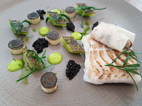 Cod with cucumber and oyster.