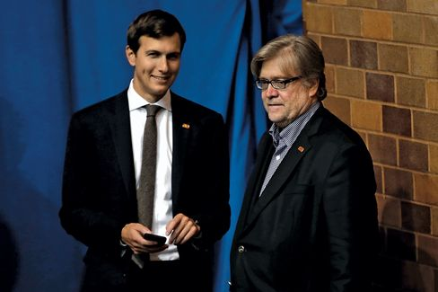 Kushner and Bannon at a Trump rally in Canton, Ohio, on Sept.14.
