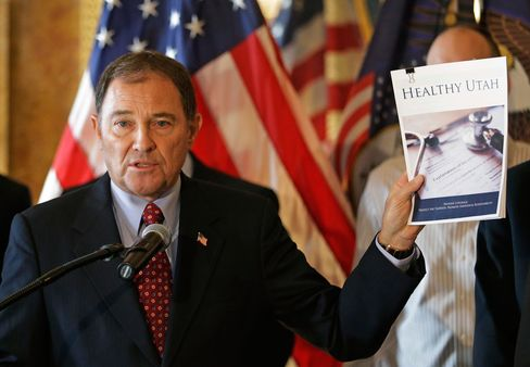 In this Dec. 4, 2014, file photo, Utah Gov. Gary Herbert speaks during a news conference unveiling details about his alternative to expanding eligibility for Medicaid in Utah, in Salt Lake City.