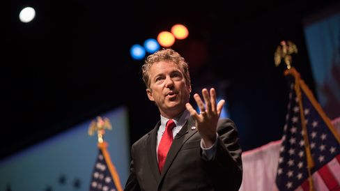 U.S. Senator Rand Paul, a Kentucky Republican and U.S. presidential candidate, during the Iowa Faith & Freedom Coalition presidential forum at Point of Grace Church in Waukee on April 25, 2015.