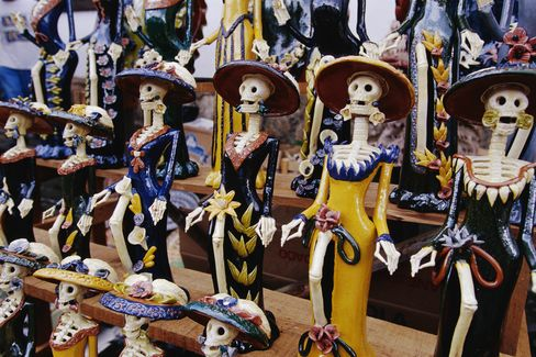 The more commercial side of Day of the Dead, also seen in Oaxaca.
