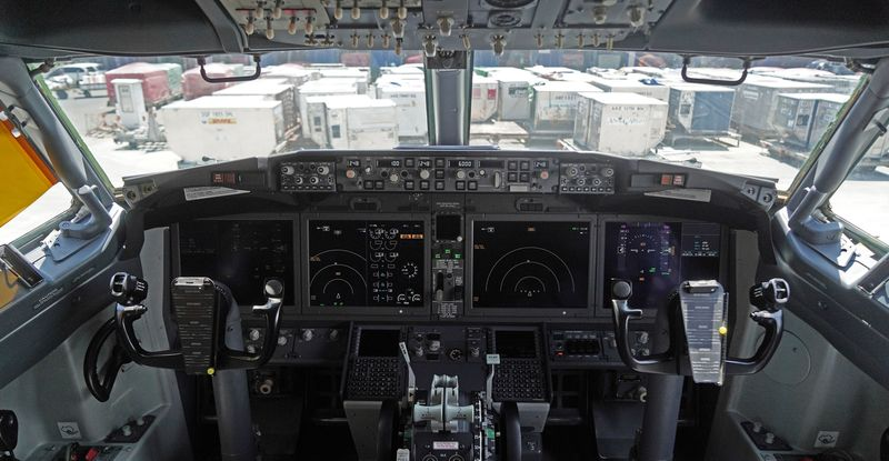 The cockpit of a groundedBoeing Co. 737 Max 8 aircraft in Cenkareng, Indonesia.