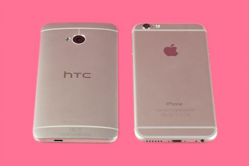 HTC One (left) and Apple iPhone 6