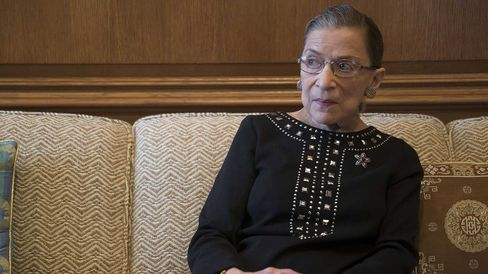 Ruth Bader Ginsburg, associate justice of the U.S. Supreme Court, pauses while talking in her chambers following an interview in Washington, D.C., U.S., on Friday, Aug. 23, 2013.