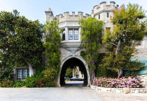 The entrance to L.A.'s famous Playboy Mansion, on the market for $200 million.