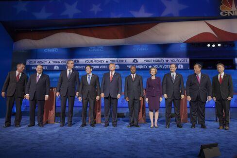 The 2016 Republican presidential candidates debate at the University of Colorado in Boulder, Colorado, onOct. 28, 2015.