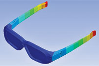 Video Gaming: Weak points in 3D glasses are revealed by the red and orange stripes