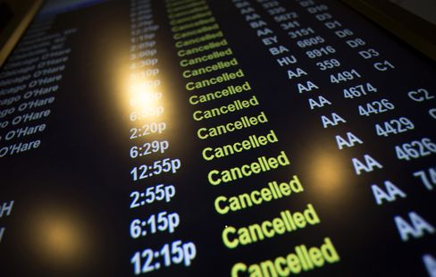 Sandy Ravages Airline Flight Schedules as Toll Rivals Blizzards'