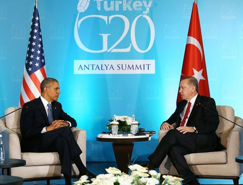 Recep Tayyip Erdogan meets with Barack Obama during the G20 Summit