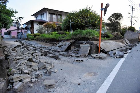 Collapsed buildings after an earthquake struck Kumamoto, Japan.