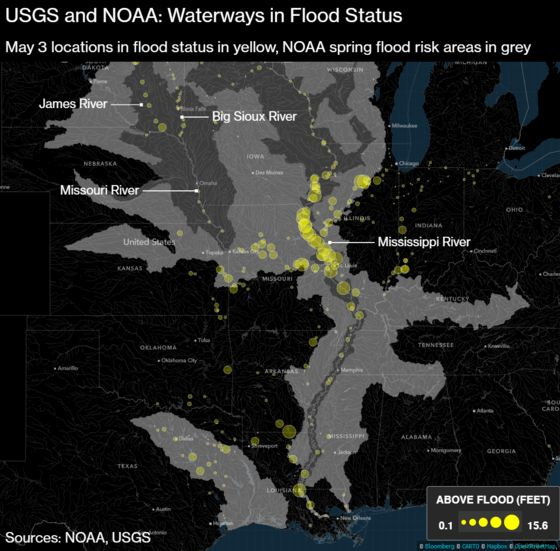 Mississippi River Breaks 1993 Flood Record West of Chicago