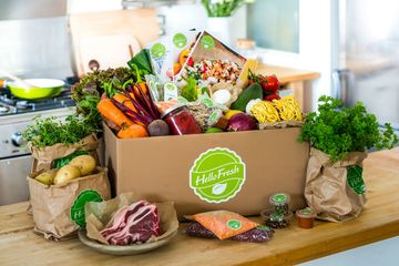 Hello Fresh delivers recipe boxes with carefully measured ingredients for preparing meals at home