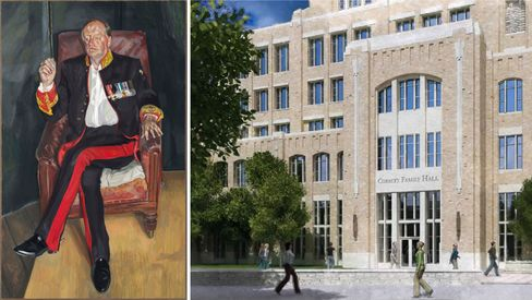 Left: Lucian Freud, The Brigadier, 2003-04. Right: Richard Corbetts's $35 million gift included $25 million for a new 280,000-square-foot building at Notre Dame, his alma mater, and $10 million to endow a head football coaching position.