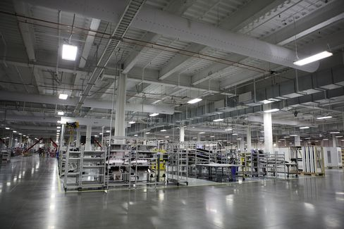 The view inside the Gigafactory.