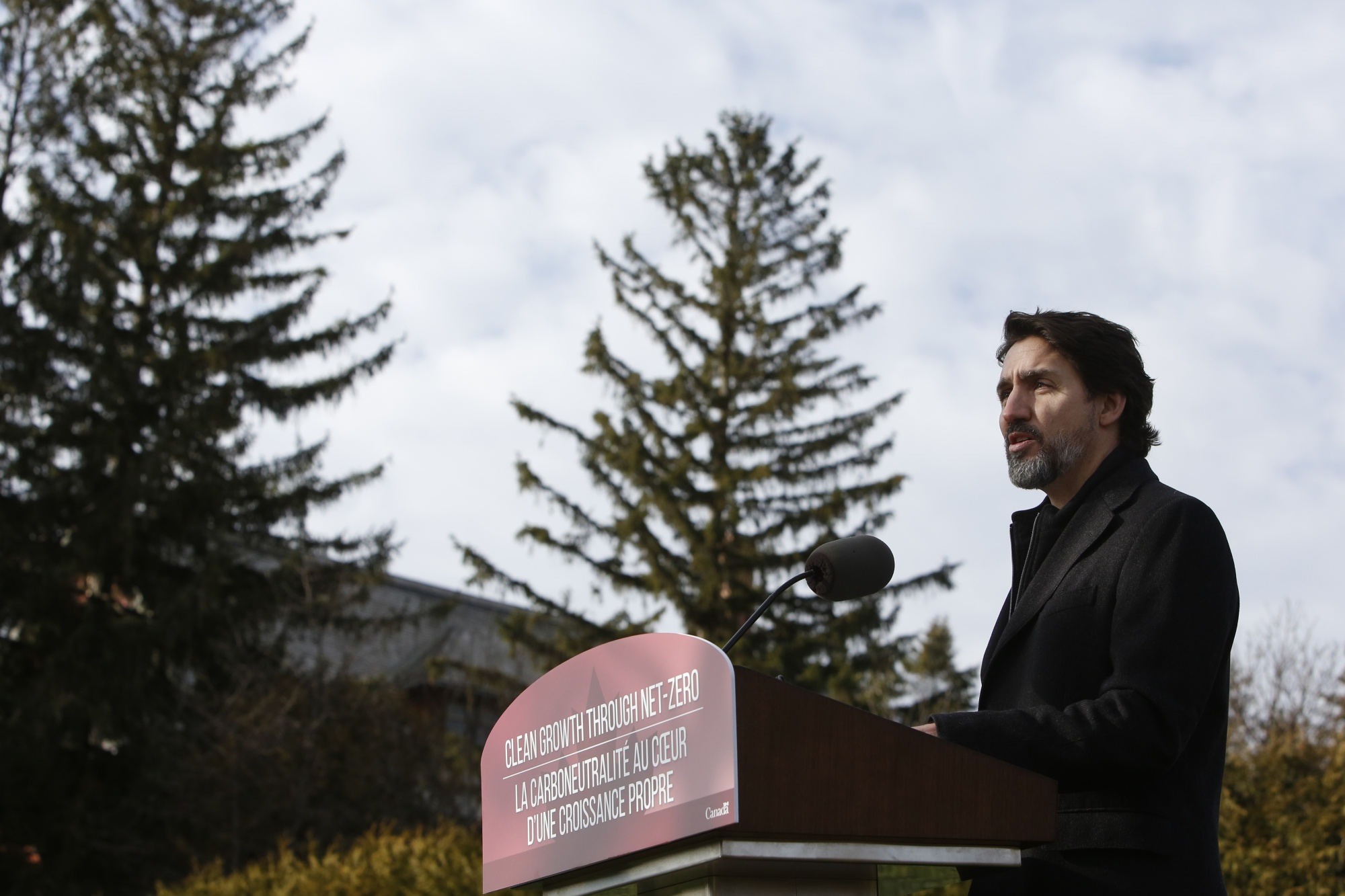 Justin Trudeau announces a carbon-tax increase at an Ottawa news conference in November 2020.