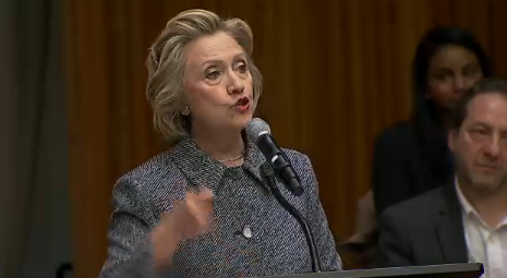 Former Secretary of State Hillary Clinton speaks at the United Nations on March 10, 2015.