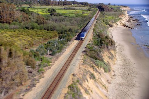 Train tracks run through all three ranches. Here, Amtrak's Pacific Surfliner connects San Luis Obispo to San Diego.