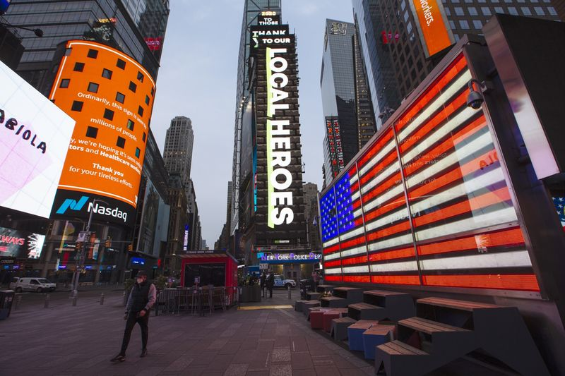 Times Square Goes Blue To Thank Frontline Workers