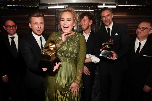 Adele at The 59th GRAMMY Awards at STAPLES Center in Los Angeles, California.