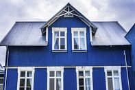 Colorful Blue House Street Reykjavik Iceland