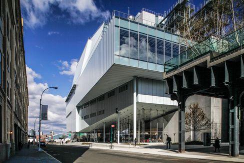 The exterior of the Whitney Museum of American Art. Sandwiched between the West Side Highway and a busy neighborhood, noise filters through the glass as a general din.