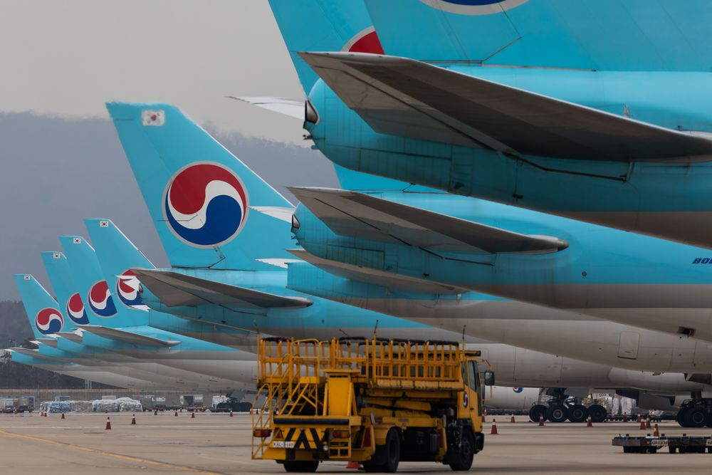 Korean Air Lines Co. freight aircraft are seen at the company's cargo terminal in Incheon International Airport in Incheon, South Korea.