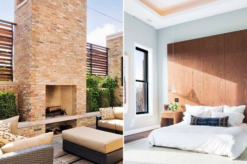 Deck and master bedroom in the six-bed, nine-bath, 7,400-sq.-ft. Chicago townhouse, retrofit to LEED Platinum status.