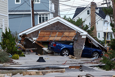 A roof was blown off a residence in the path of Hurricane Sandy in Normandy Beach, NJ