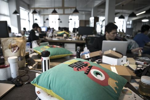 A Live.ly mascot pillow at headquarters.