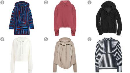 (1) Baja hooded cashmere sweater, The Elder Statesman, $2,140, net-a-porter.com; (2) Cotton hoodie, Haider Ackermann, $850, mytheresa.com; (3) Cashmere zip-front hoodie, J.Crew, $238, jcrew.com; (4) Raw edge hoodie, MM6 Maison Margiela, $270.87, farfetch.com; (5) Cotton felpa tied hoodie, Rick Owens DRKSHDW, $790, modaoperandi.com; (6) Striped hoodie, Sacai, $530, farfetch.com.