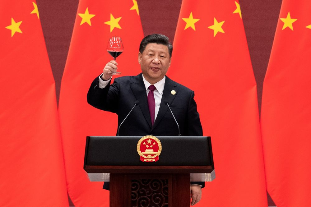 Toasting to victory at the Belt and Road Forum.