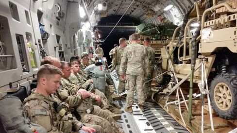"Paratroopers from the 82nd Airborne Division's ""Global Response Force"" en route to Poland."