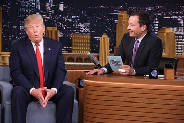 Donald trump during an interview with host jimmy fallon