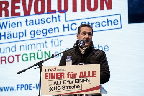 Austrian Freedom Party leader Heinz-Christian Strache speaks ahead of the local elections Oct. 8.