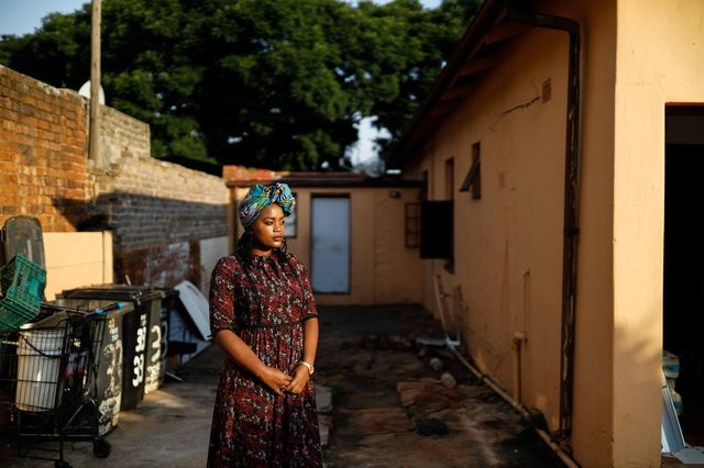 Mosima Kganyane in front of the one-bedroom rental that she built in the backyard of her family home in Johannesburg.