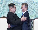 Kim Jong Un, North Korea's leader, left, and Moon Jae-in, South Korea's president
