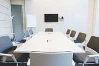 Empty conference table in office boardroom