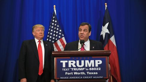 New Jersey Governor Chris Christie announces his support for Republican presidential candidate Donald Trump on Feb. 26, 2016, in Fort Worth, Texas.