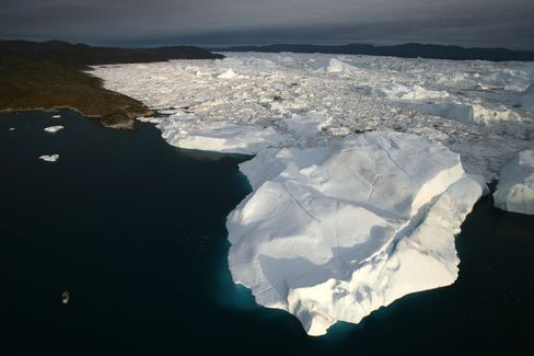 An Aerial View Of Icebergs