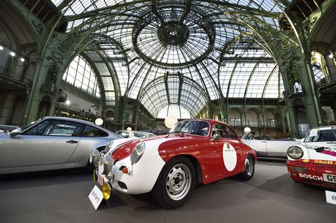 A 1964 Porsche 356 C 1600 SC Coupe at the Bonhams car and moto auction on February 4, 2015, in the Grand Palais in Paris.