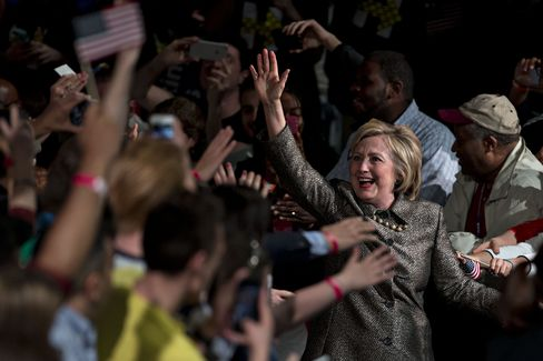 Clinton in Philadelphia on April 26.