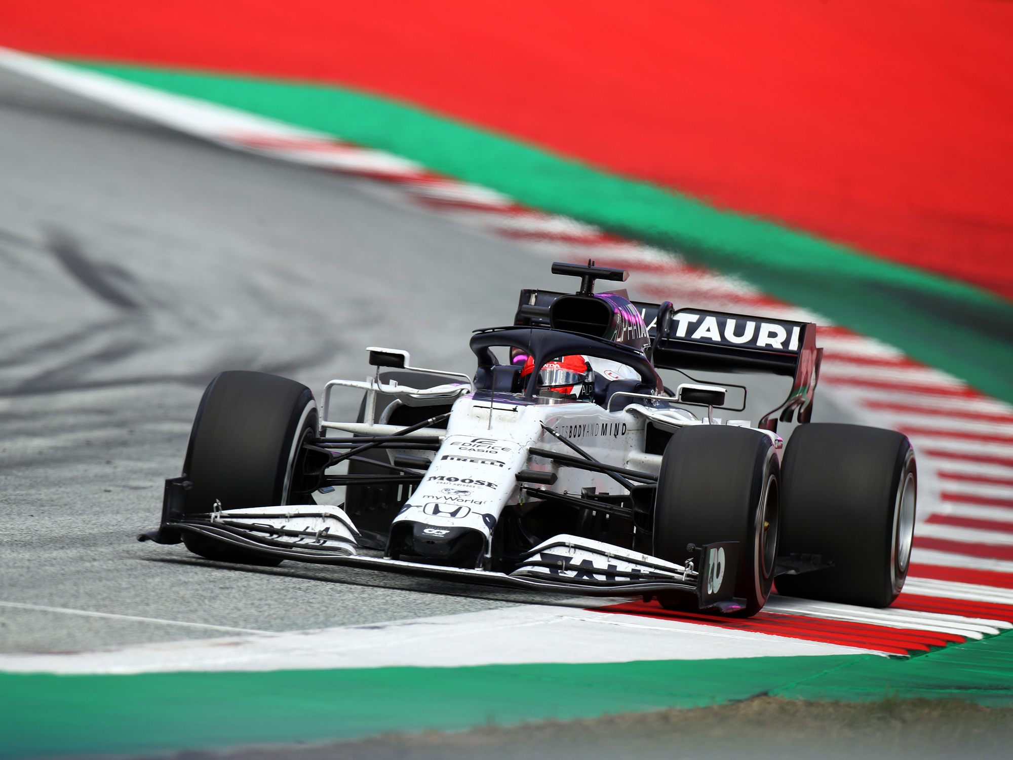 Daniil Kvyat driving the a Scuderia AlphaTauri AT01 Honda on track during the Formula One Grand Prix of Styria in July.
