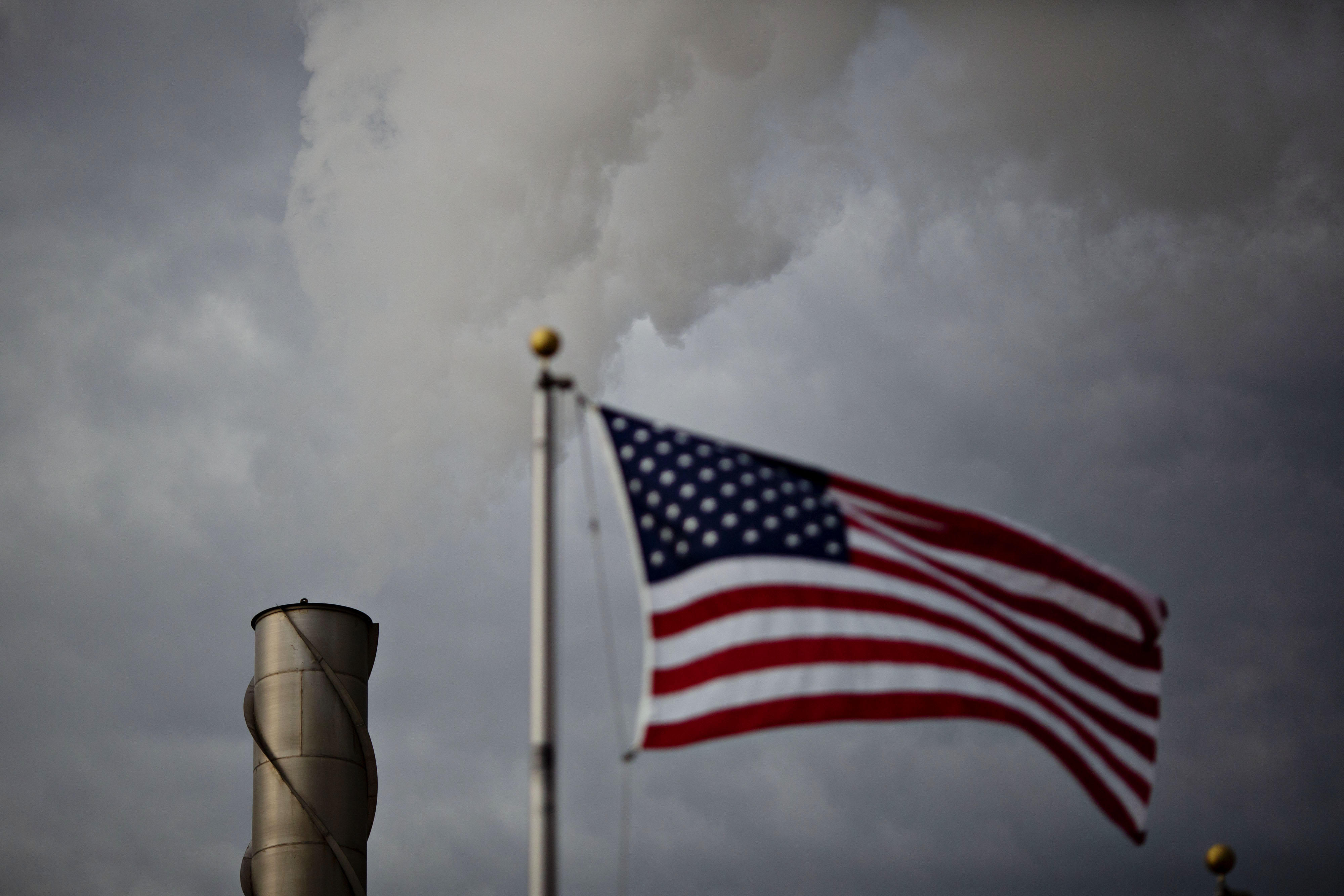 Steam rises from a stack outside an ethanol biorefinery in Iowa.