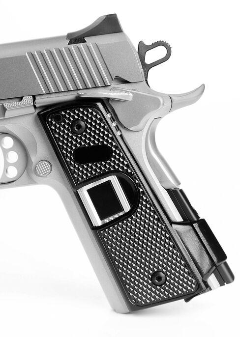 Kodiak Industries'Intelligun recognizes a user's fingerprint. Gripping the gun unlocks the gun, which relocks as soon as the wielder lets go.