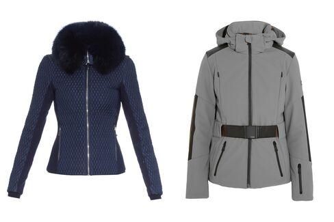From left: Montana fur-trimmed ski jacket, Fusalp, $1,481, matchesfashion.com; Leather-trimmed padded shell ski jacket, Fendi, $2,550, netaporter.com.