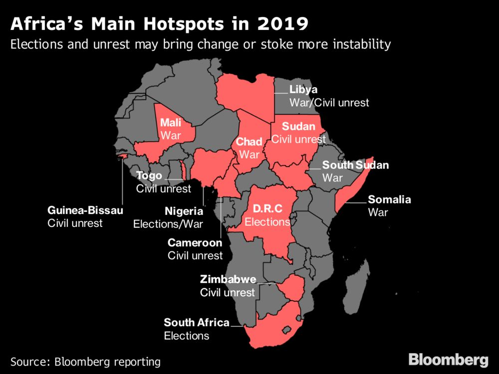 A Country Guide to Africa's Top Political Hotspots in 2019: Map